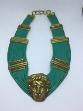 Vintage Lion Head Green Leather Collar Necklace