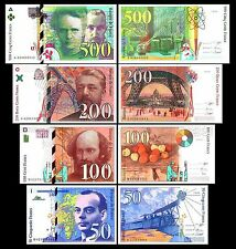 2x 50, 100, 200, 500 Francs - Issue 1993 - 2000 - 8 Banknotes - 01