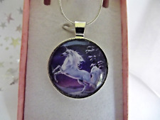 UNICORN HORSE PONY PENDENT SILVER NECKLACE 22  INCH 7 up years GIFT BOX BIRTHDAY