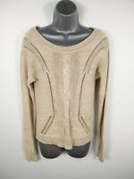 WOMENS FOREVER 21 BEIGE CABLE KNIT LONG SLEEVE CASUAL ROUND NECK JUMPER M MEDIUM