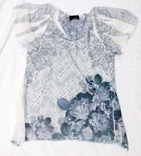 Brittney Black women's blouse size S gray / white short sleeve v-neck