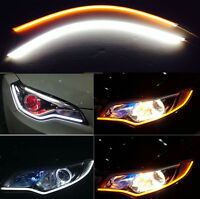 60CM Flexible Silicone SMD LED Light Strips Switchback Turn Signal White Yellow