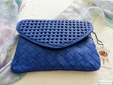 Urban Expressions Clutch ~ Cobalt Blue Woven 100% Vegan Leather