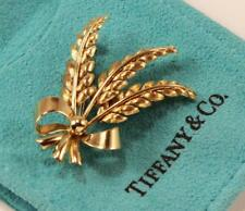 VINTAGE TIFFANY & CO. 18K YELLOW GOLD WHEAT BOW PIN BROOCH