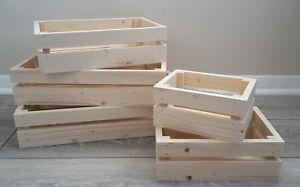 Sturdy Shallow Wooden Crate Storage Box Hamper Basket
