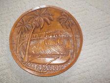 vintage 1986 resin plaque of diamond head canoe coconut trees hawaii hawaiian