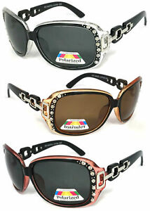 Womens Polarized Anti Glare Square Rhinestones Studded Sunglasses UV Protection