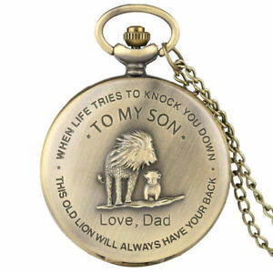 Ancient To My Son The Lion King Boy Pocket Watch Quartz Pendant Chain Gift