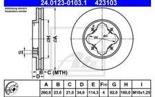 ATE Juego de 2 discos freno ventilado Para HONDA CIVIC ROVER 24.0123-0103.1