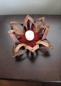 Handcrafted Leather Candle Holder Tealight Table Decorations more colors