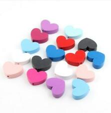 15pcs Wood Heart Spacer Beads Necklace Toys Pacifier Clip Wooden Beads 30X23mm