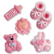 Zucker Taufe Set Rosa, Babyshower, Zuckerfiguren, Tortendeko, Geburt, Baby Set
