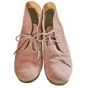 Clarks Originals Women's Ladies Shoes Boots Pink Size UK 5 1/2 Suede Wedge Lace