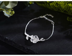 Acecare Real Silver Natural Crystal  Fine Jewelry Flower in the Rain Bracelet