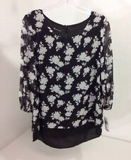 NEW DIRECTIONS WOMEN'S 3/4 SLEEVE FLORAL BLOUSE BLK/WHT MEDIUM NWT $44