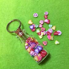 Miniature Kawaii Polymer Clay Hearts Glass Bottle Keyring Cute Funky Love Gift