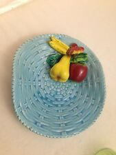 FIGURAL FRUIT TIFFANY BLUE BASKET WEAVE POTTERY BOWL APPLE BANANA PEAR CHERRY