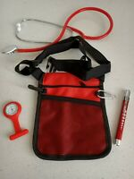 Medical Kit: nurse pouch + Penlight neuro torch+ nurse watch + Stethoscope RED