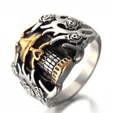 Rose Gold Plated Skull Head Stainless Steel Never Tarnish Men's Craft Ring M93