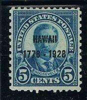 Jimace29 US #648 Roosevelt Hawaii Sesquicentennial Overprint issue of 1928, O.G.