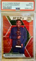 2019 PANINI MOSAIC GIANNIS ANTETOKOUNMPO MVP RED WAVE  PSA 10 GEM MT. POP 4 RARE