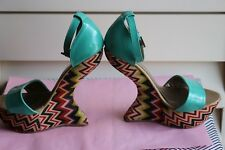 Heel Less High Curved Wedge Platform Ankle Strap 7 M Green Turcuoise