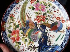 "BOLD HANDPAINTED ORIENTAL EXOTIC BIRD BLOSSOM DISPLAY PLATE 10.25"" COBALT PINK"