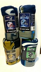 "NFL Mirror Grid Iron Fleece Throw Blanket 50"" X 60"" YOU PICK THE TEAM"