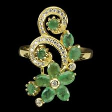 Unheated Oval Emerald 4x3mm Pearl Cz 14K Gold Plate 925 Sterling Silver Ring 8