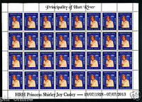 """Principality of Hutt River 2013 """"Celebration Of Life"""" FULL SHEET MUH 60c stamps"""