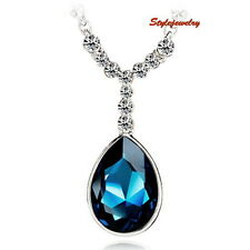 Silver Blue Sapphire Teardrop Party Necklace Made With Swarovski Crystal N58