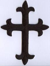 Iron On Applique Embroidered Patch Religious Fleur de lis Cross Black