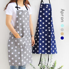 Women Stars Apron with Pocket Cotton Linen Kitchen Apron Bib Cooking Baking UK