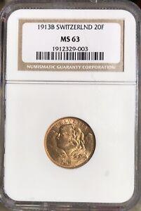 1913 B Switzerland Gold 20 Francs NGC MS63