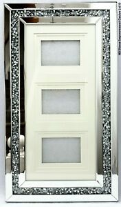 Diamond Crush Crystal Sparkly Large Silver Mirrored 3 Photo Picture Frame Hung