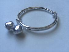 Sterling Silver Baby Adjustable Bracelet/Bangle or Anklet with Bells