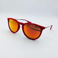 Ray Ban Erika RB4171 6076/6Q Red Velvet Round Sunglasses w/ Red Mirrored lenses