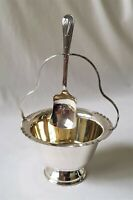 VINTAGE C1950'S NEWCRAFT A1 EPNS SILVER PLATED SUGAR BOWL WITH HANGING SPOON