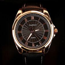 YAZOLE 336 Men's Elegant Business Watch Roman Number Leather Quartz Wrist Watch
