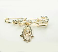 Baby Boys / Girls Hamsa Hand With Loves in Gold Safety Pin For Stroller Luck