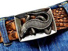 Kroko Gürtelschnalle Buckle Reptil Krokodil Ornament Lilie  Wechselschnalle 4cm