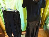 T42 lot== 3piéces noi res jupe et pantalon et haut =a saisir !!!