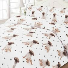Polycotton Duvet Cover With Pillow Case Bedding Double Size - Cute Pug Dog White