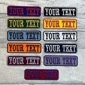 IRON ON TWILL PERSONALISED PATCH NAME BIKER SCOOTER TRIKER EMBROIDERED TAG