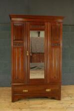 Antique Early 20th Century Walnut Mirror Door Wardrobe