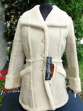 New vtg Womens Lamb Shearling Suede Coat Jacket Deadstock XS S 70s 80s NOS NWT