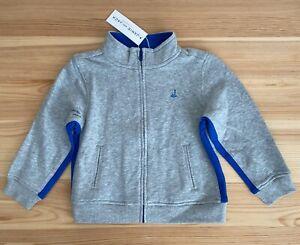 NWT JANIE AND JACK JJ Sport Boys Gray Full Zip Sweater Size 2T