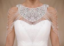 New White Lace Wedding Bridal Crystal Shawl Wrap Cape Shrug Bolero Jacket