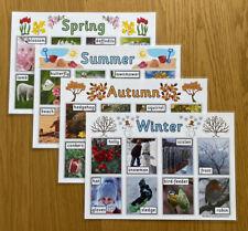 Seasons A4 Poster Set Spring Summer Autumn Winter Childminder EYFS KS1 SEN.