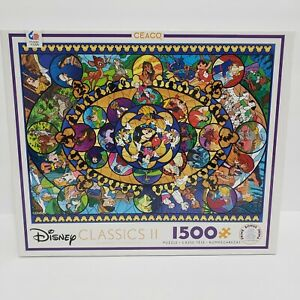 Disney Puzzle Classics II Characters Stained Glass Ceaco 1500 Piece New Sealed